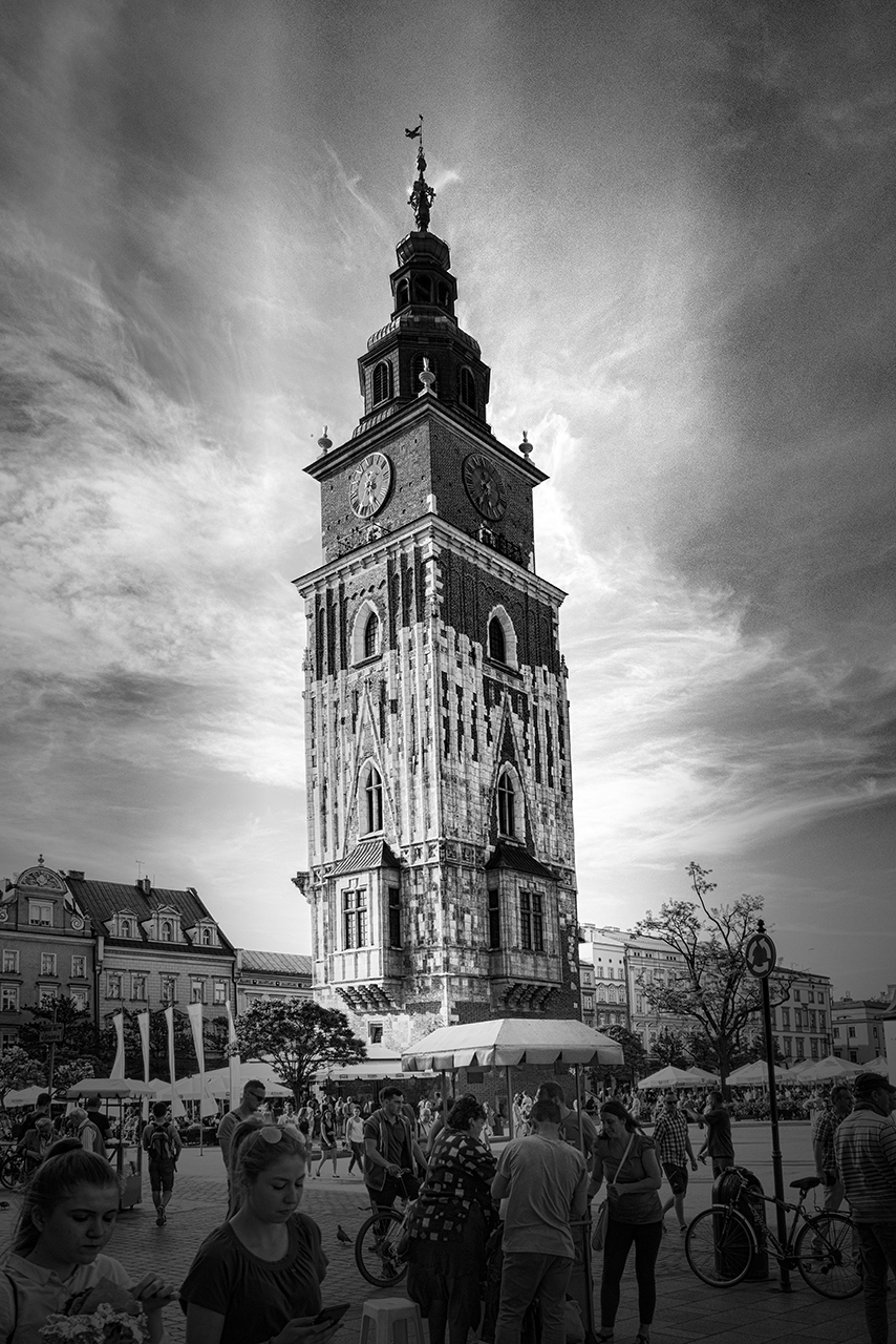 Krakow Town Hall Tower Black and White