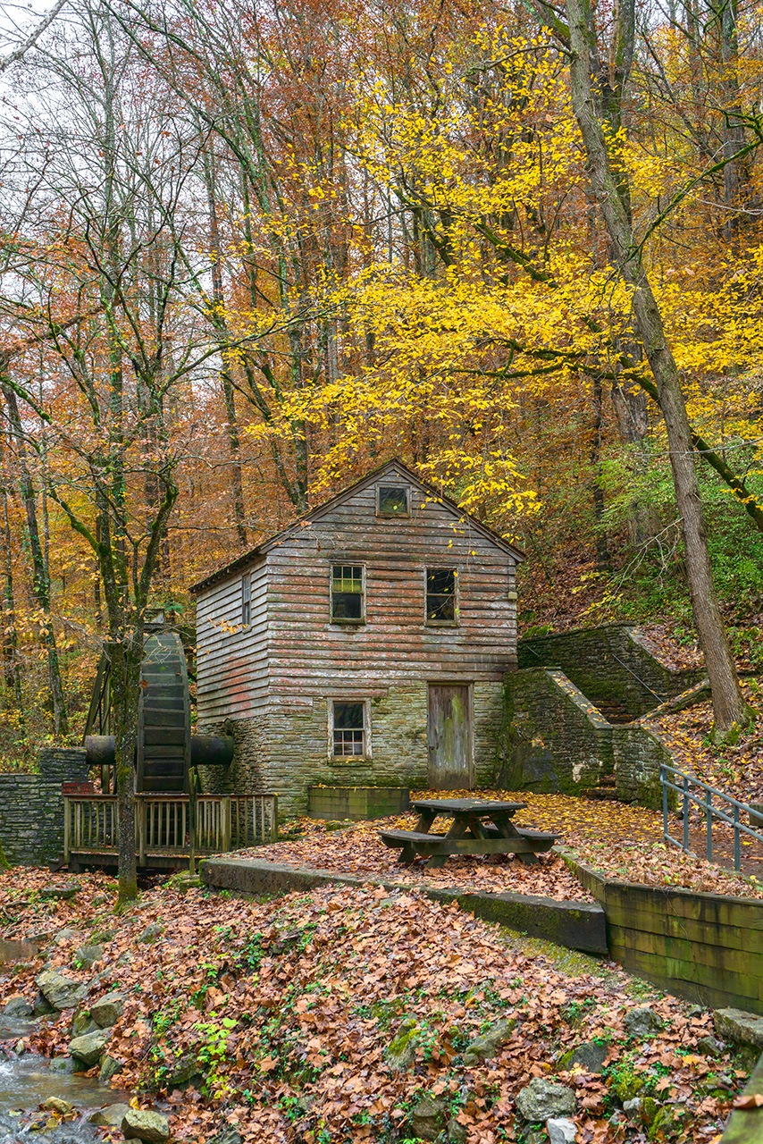 grist mill in the fall