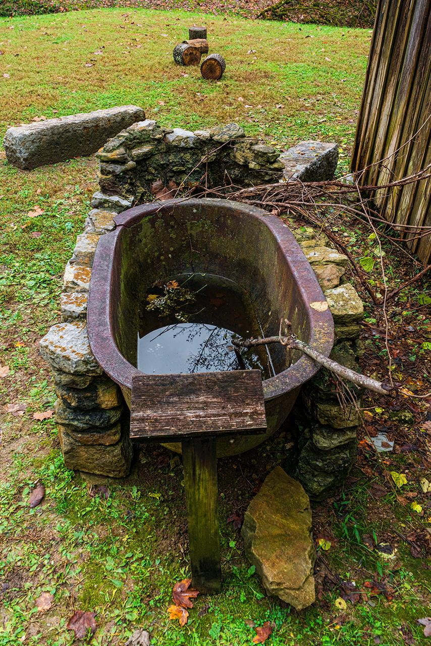 water tub at threshing barn
