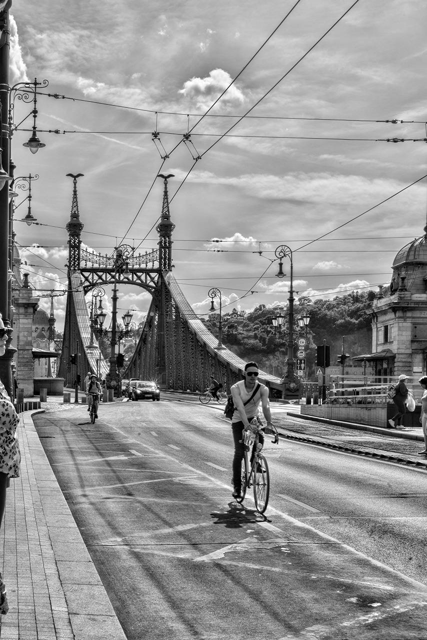 Bicyclists in Budapest