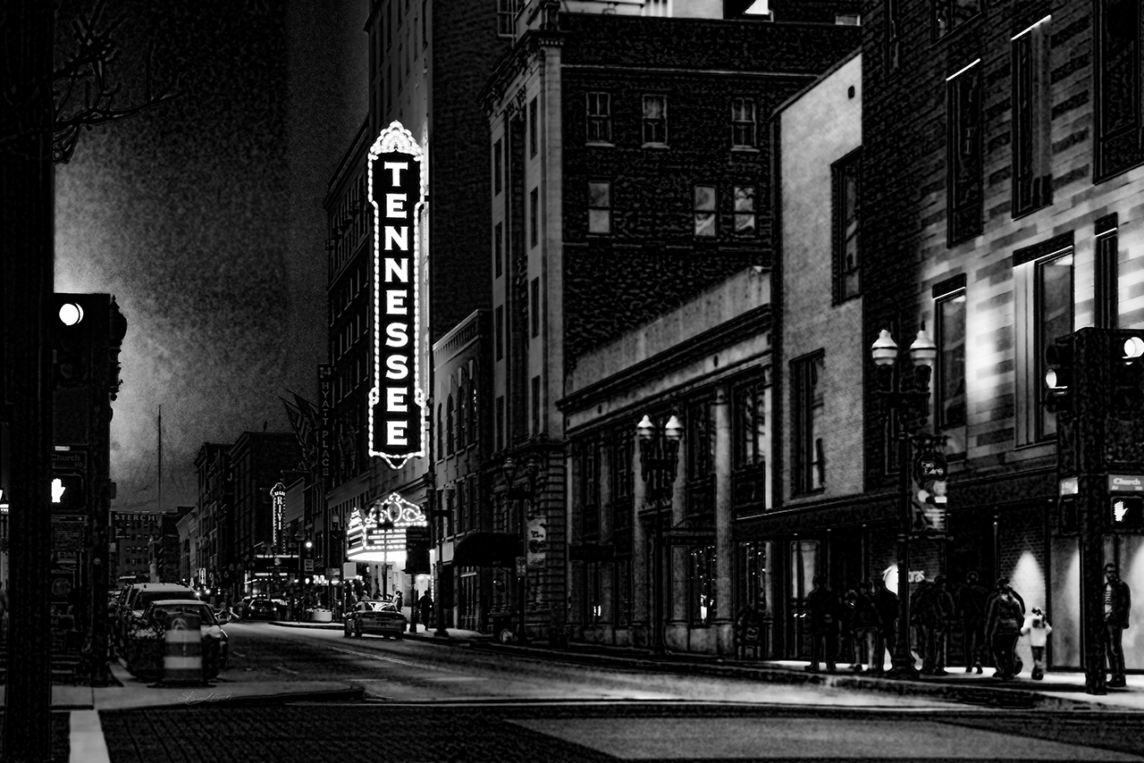 Gay Street After Dark black and white