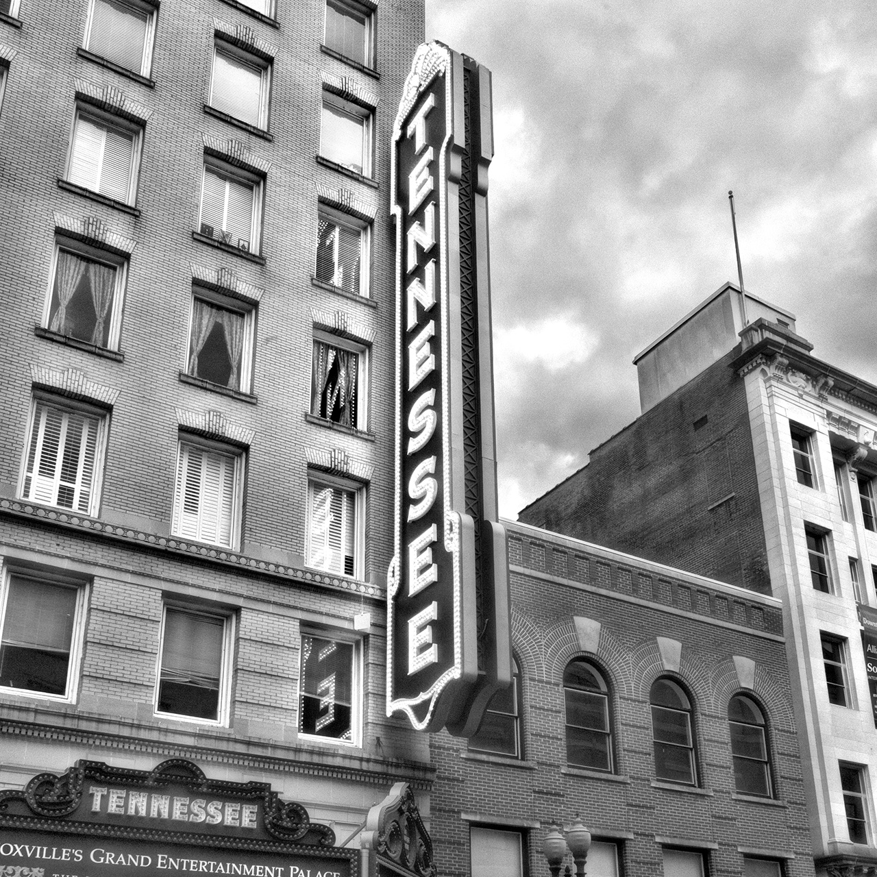Tennessee Theatre Marquee Black and White