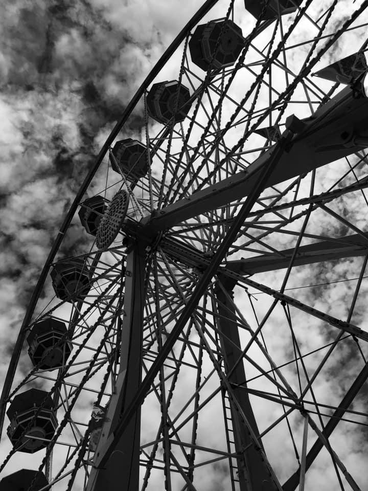 Ferris Wheel in Black and White by Jennifer Gruhl