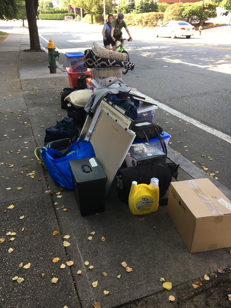 unloaded on the sidewalk